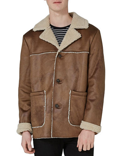 Topman Hurley Faux Shearling Jacket-LIGHT BROWN-Large