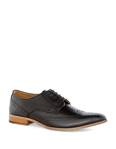 Topman Baker Leather Brogues-BLACK-41