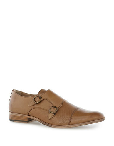 Topman Baker Leather Monk Shoes-BROWN-42