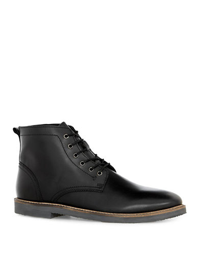 Topman Union Curb Vintage Leather Lace Boots-BLACK-41