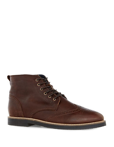 Topman Union Curb Vintage Leather Brogue Boots-BROWN-46