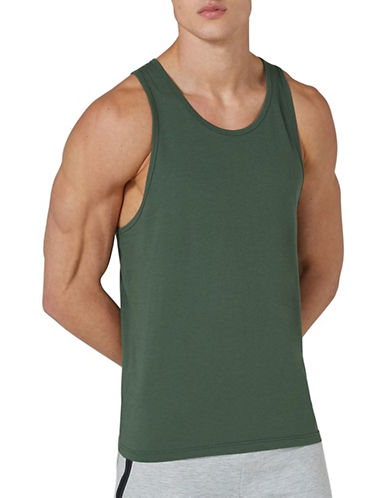 Topman Slim Fit Tank Top-KHAKI-Small