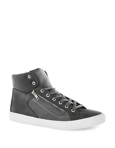 Topman Loki Zip Hi Top Trainers-GREY-45