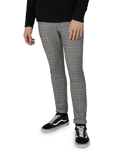 Topman Check Skinny Trousers-GREY-28 Short