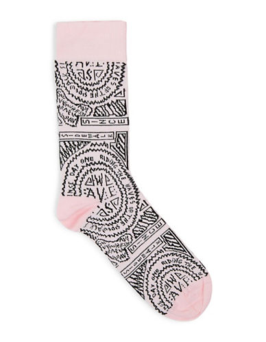 Topman Waves Socks-PINK-One Size