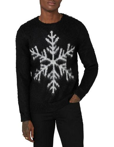 Topman Slim Fit Mohair Wool-Blend Snowflake Sweater-BLACK-Large