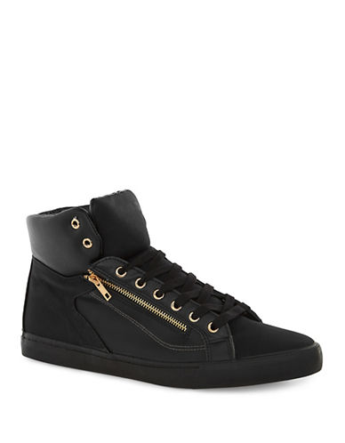 Topman Loki Zip Hi Top Trainers-BLACK-45