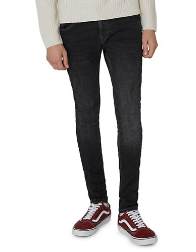 Topman Nolan Washed Spray-On Jeans-BLUE-32 Long