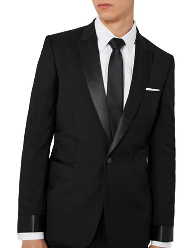 Topman CHARLIE CASELY-HAYFORD Wool-Mohair Occasion Suit Jacket-BLACK-40
