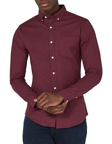 Topman Muscle Fit Oxford Shirt-BURGUNDY-X-Small