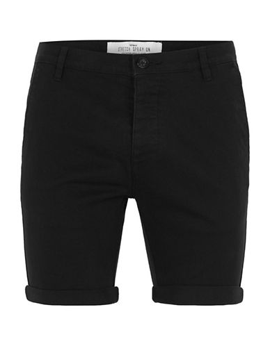 Topman Spray On Chino Shorts-BLACK-32