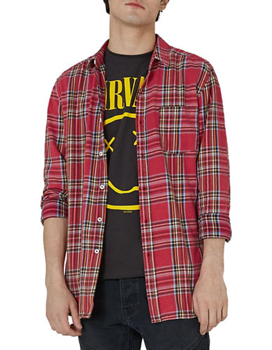 Topman Classic Fit Tartan Sport Shirt-RED-Small