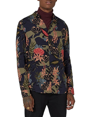 Topman Classic Fit Floral Shirt-NAVY BLUE-Small