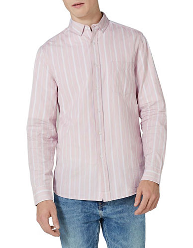 Topman Classic Fit Striped Sport Shirt-PINK-Medium