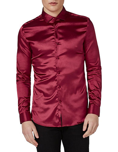 Topman Muscle Fit High Shine Satin Shirt-RED-Medium