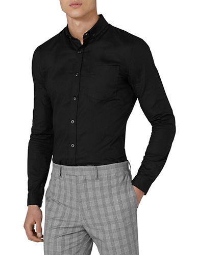 Topman Muscle Fit Oxford Sport Shirt-BLACK-Large