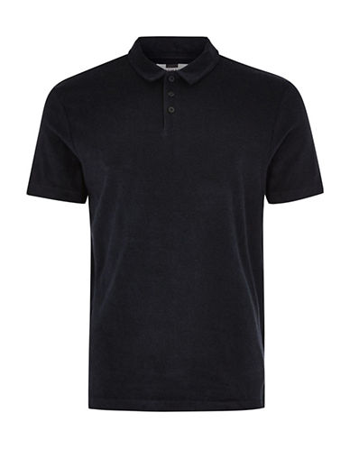 Topman Slim Fit Towelling Polo-NAVY BLUE-Medium