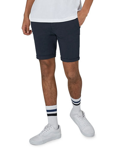 Topman Spray-On Chino Shorts-DARK BLUE-32