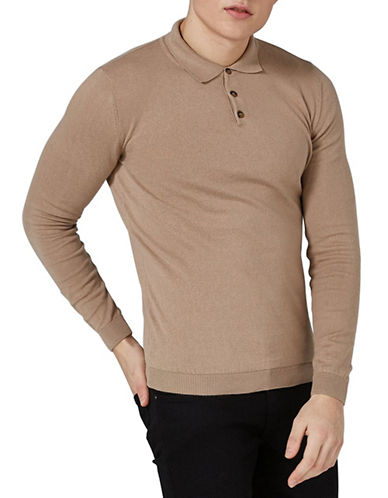 Topman Muscle Fit Polo-LIGHT BROWN-X-Small