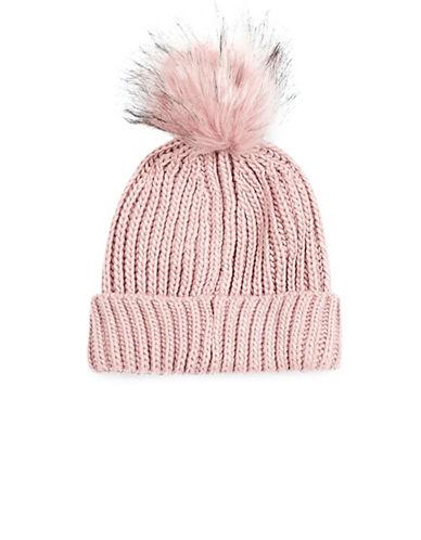 Topshop Faux Fur Pom-Pom Beanie-NUDE-One Size 88802732_NUDE_One Size