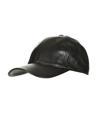 Topshop Faux Leather Baseball Cap-BLACK-One Size