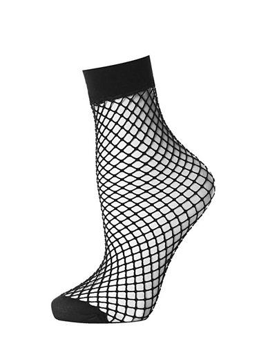 Topshop Fishnet Ankle Socks-BLACK-One Size