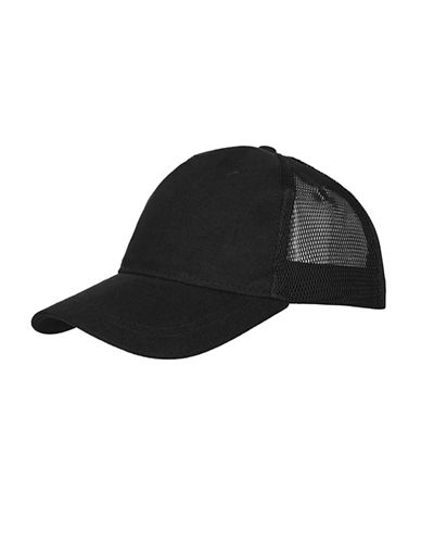 Topshop Mesh Back Baseball Cap-BLACK-One Size