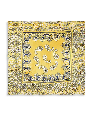 Topshop Paisley Silky Scarf-MUSTARD-One Size