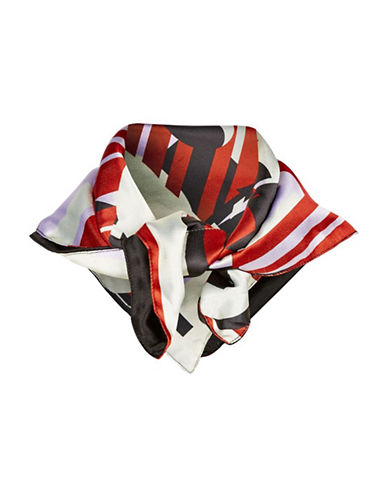Topshop Regen Printed Silky Scarf-RED-One Size