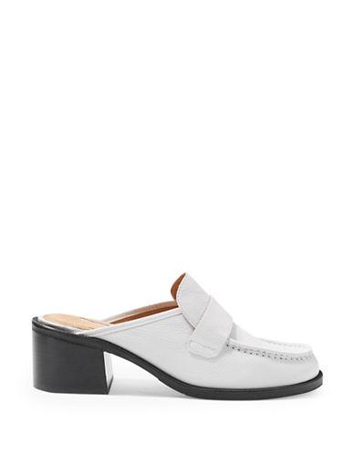 Topshop Kolour Leather Slip-On Mules-WHITE-EU 39/US 8.5