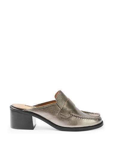 Topshop Kolour Leather Slip-On Mules-SILVER-EU 38/US 7.5