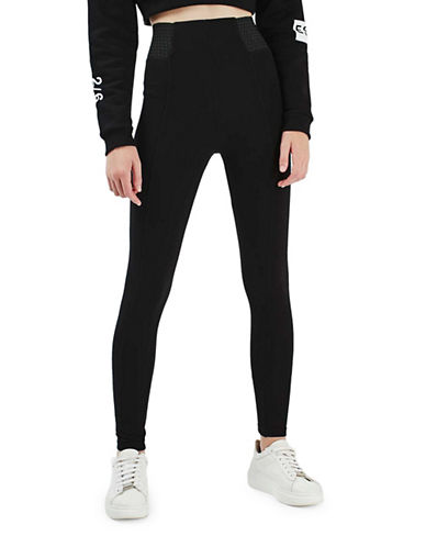 Topshop Textured Ponte Leggings-BLACK-UK 10/US 6