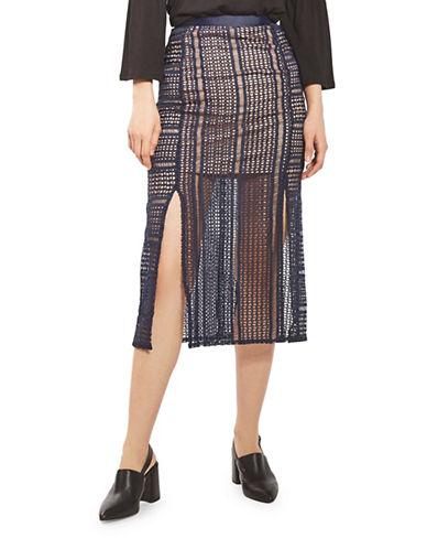 Topshop Geo Lace Midi Skirt-NAVY BLUE-UK 8/US 4
