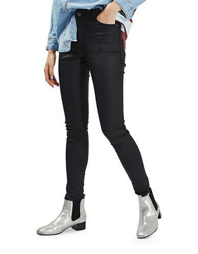 Topshop MOTO Coated Leigh Jeans 30-Inch Leg-BLACK-24X30