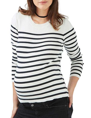 Topshop MATERNITY Stripe Zip-Back Sweater-IVORY-UK 14/US 10 plus size,  plus size fashion plus size appare
