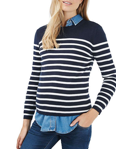 Topshop MATERNITY Stripe Zip Back Sweater-NAVY-UK 14/US 10 plus size,  plus size fashion plus size appare