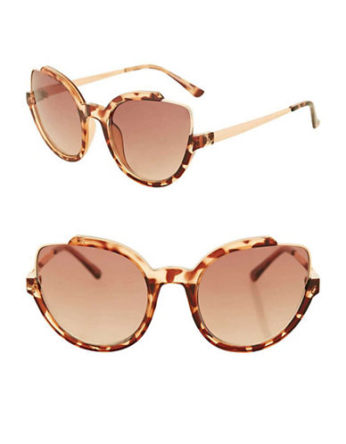 Topshop Cutaway Cateye Sunglasses-BROWN-One Size