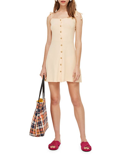 Topshop Buttoned Ribbed Mini Dress 90193897