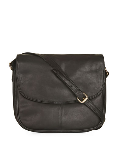 Topshop Leather Saddle Bag-BLACK-One Size