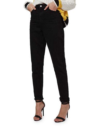 Topshop MOTO Cuffed Mom Jeans 30-Inch Leg-BLACK-32X30