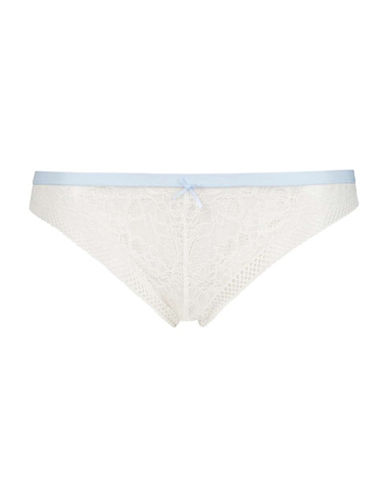 Topshop Selina Floral Lace Brazilian Panties-IVORY-UK 10/US 6