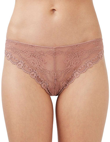 Topshop Cordelia Floral Lace Thong-NUDE-UK 12/US 8