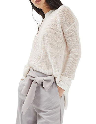 Topshop Open Back D-Ring Sweater-IVORY-UK 6/US 2