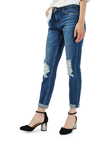 Topshop MOTO Ripped Lucas Jeans 30-Inch Leg-BLUE-32X30