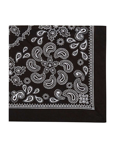 Topshop Paisley Cotton Bandana-BLACK-One Size