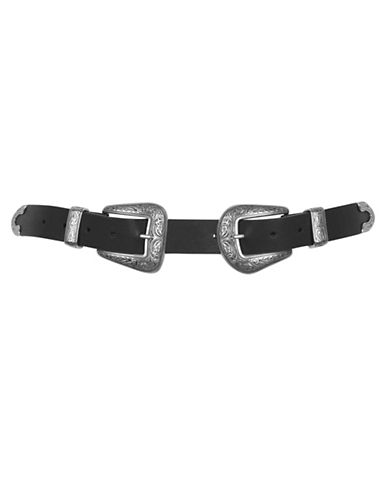 Topshop New Double Buckle Belt-BLACK-X-Small