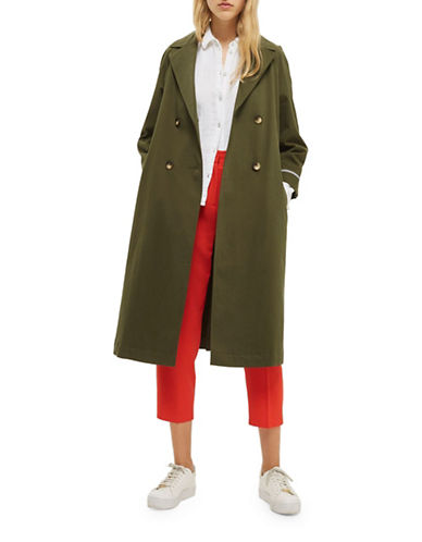 Topshop Relaxed Trench Coat-KHAKI-UK 12/US 8