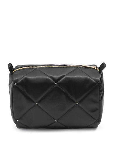 Topshop Mark Satin Stud Makeup Bag-BLACK-One Size