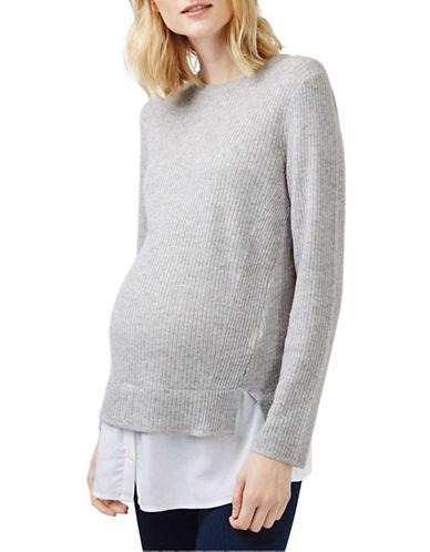 Topshop MATERNITY Ribbed Hybrid Sweater-GREY-UK 10/US 6 plus size,  plus size fashion plus size appare