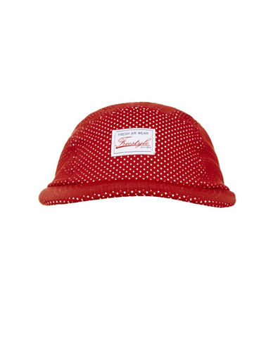 Topshop Airtex Five-Piece Cap-RED-One Size